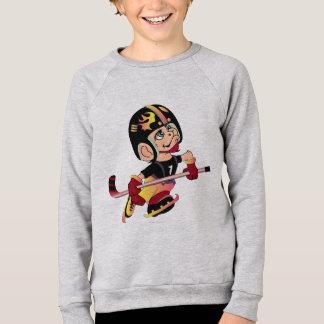Amerikanischer Raglan HOCKEY-ALIEN-CARTOON Kinder Sweatshirt