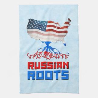 Amerikanischer Russe wurzelt Tee-Tücher Handtuch
