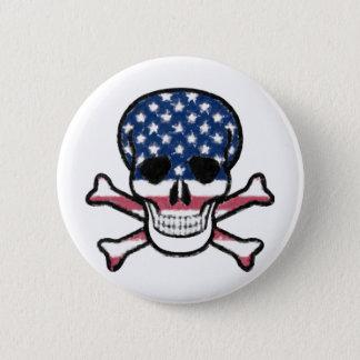 Amerikanischer Schädel Runder Button 5,7 Cm