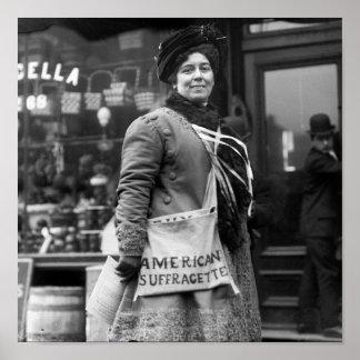 Amerikanischer Suffragette, frühe 1900s Poster