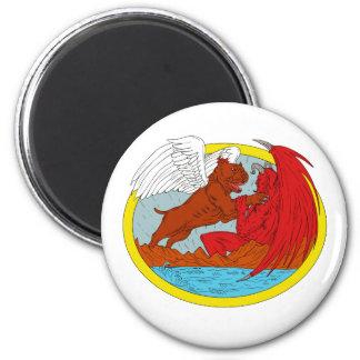 Amerikanischer Tyrann-Hund, der Satan Zeichnen Runder Magnet 5,7 Cm