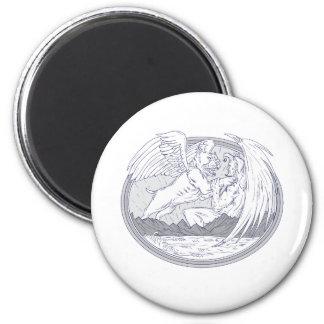 Amerikanischer Tyrann-kämpfendes Dämon-Zeichnen Runder Magnet 5,7 Cm