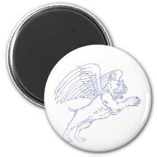 Amerikanischer Tyrann mit dem Flügel-Zeichnen Runder Magnet 5,1 Cm