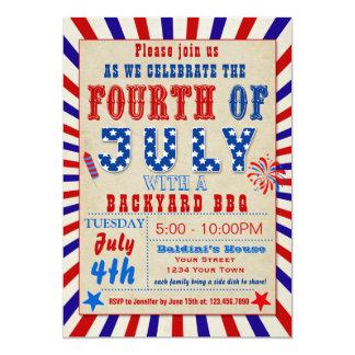 Amerikanischer Unabhängigkeitstag GRILLEN 12,7 X 17,8 Cm Einladungskarte