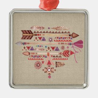 Amerikanischer Ureinwohner Boho versieht Silbernes Ornament