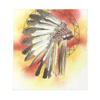 Amerikanischer Ureinwohner Headresss Notizblock