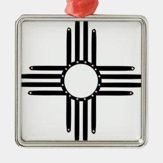 Amerikanischer Ureinwohner wulstiges Zia Quadratisches Silberfarbenes Ornament