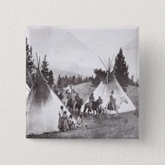 Amerikanischer Ureinwohnerteepee-Lager, Montana, Quadratischer Button 5,1 Cm
