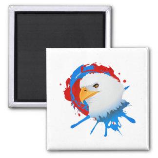 Amerikanischer Weißkopfseeadler-rotes weißes u. Quadratischer Magnet