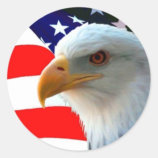 Amerikanischer Weißkopfseeadler u. US-Flagge Aufkleber