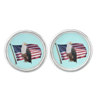 Amerikanischer Weißkopfseeadler und amerikanische Manschetten Knöpfe