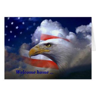 Amerikanisches Adler-Willkommens-Zuhause und Grußkarte