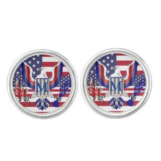 Amerikanisches Adlersymbol und -flagge Manschettenknöpfe