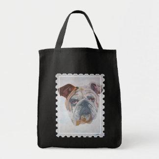 Amerikanisches Bulldoggen-Briefmarken-Motiv Tragetasche