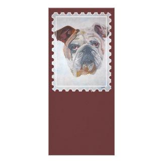 Amerikanisches Bulldoggen-Briefmarken-Motiv Werbekarte