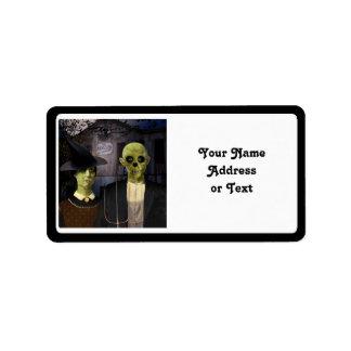 Amerikanisches gotisches Halloween Adressaufkleber