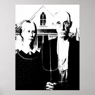 Amerikanisches gotisches Schwarzweiss Poster
