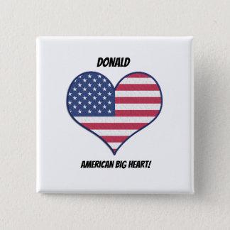 Amerikanisches großes Herz personalisierter Quadratischer Button 5,1 Cm