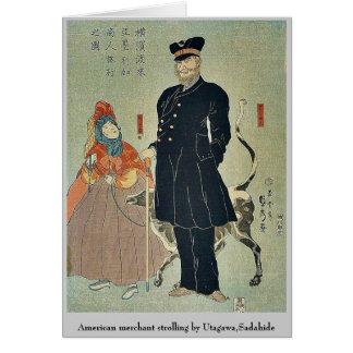 Amerikanisches Handelsschlendern durch Utagawa, Mitteilungskarte
