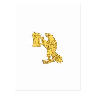 Amerikanisches kahler Adler-Bierstein-Zeichnen Postkarte