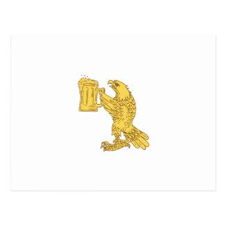 Amerikanisches kahler Adler-Bierstein-Zeichnen Postkarten