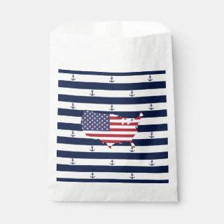 Amerikanisches Seestreifenmuster der Kartenflagge Geschenktütchen