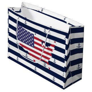 Amerikanisches Seestreifenmuster der Kartenflagge Große Geschenktüte