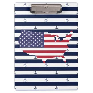 Amerikanisches Seestreifenmuster der Kartenflagge Klemmbrett