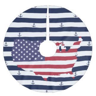 Amerikanisches Seestreifenmuster der Kartenflagge Polyester Weihnachtsbaumdecke
