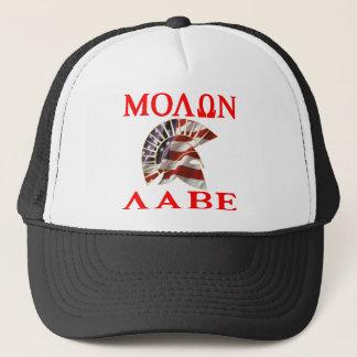 Amerikanisches spartanisches Molon Labe Truckerkappe