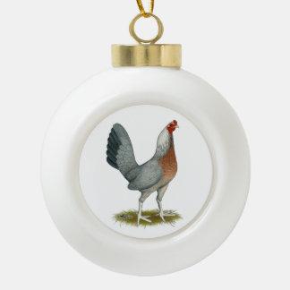 Amerikanisches Spiel-Henne-Silber-Blau Keramik Kugel-Ornament