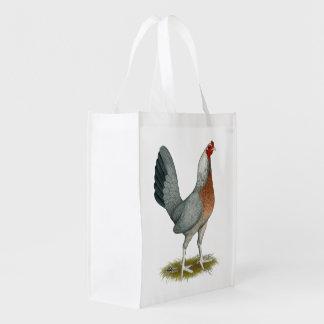 Amerikanisches Spiel-Henne-Silber-Blau Wiederverwendbare Einkaufstasche