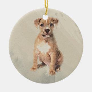 Amerikanisches Staffordshire-Terrierwelpe Keramik Ornament