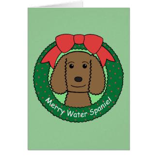 Amerikanisches Wasserspaniel-Weihnachten Karte