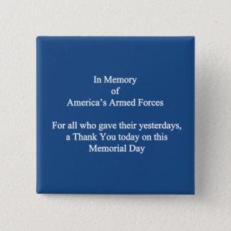 Amerikas bewaffnete Kräfte-Volkstrauertag-Knöpfe Quadratischer Button 5,1 Cm
