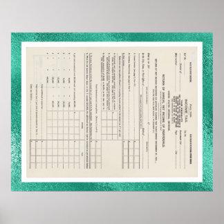 Amerikas erste Einkommenssteuer-Form 1040 Glas Poster