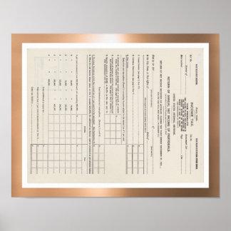 Amerikas erste Einkommenssteuer-Form 1040 Poster