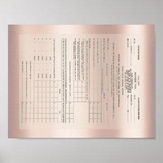 Amerikas erstes Einkommenssteuer-Form-Rosen-Gold Poster