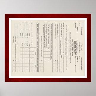 Amerikas erstes Rot der Einkommenssteuer-Form-1040 Poster