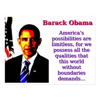 Amerikas Möglichkeiten sind - Barack Oba Postkarte