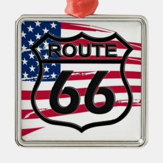 Amerikas Route 66 Silbernes Ornament