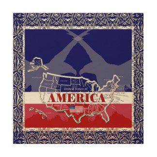 Amerikas Staats-Farbkahler Adler-hölzerne Wand Holzleinwand