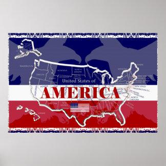 Amerikas Staats-Farbkahler Adler-Plakat Poster