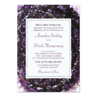 Amethyst Geode | violette Hochzeits-Einladung Karte