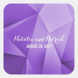 Amethyst Juwel tont Hochzeits-Aufkleber Quadrat-Aufkleber