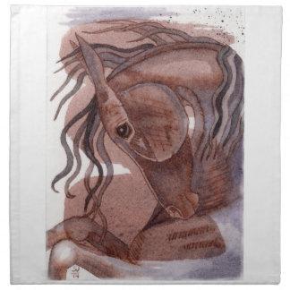 Amethyst Pferd auf Schokoladen-Aquarell-Wäsche Stoffserviette
