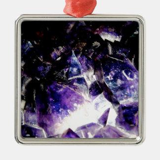 Amethyst Produkte durch Glücks-Reisende Quadratisches Silberfarbenes Ornament
