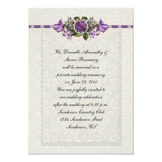 Amethyst und lila Rosen-Posten-Hochzeit 12,7 X 17,8 Cm Einladungskarte