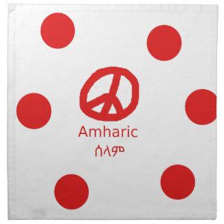 Amharic-Sprache und Friedenssymbol-Entwurf Serviette