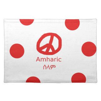 Amharic-Sprache und Friedenssymbol-Entwurf Stofftischset